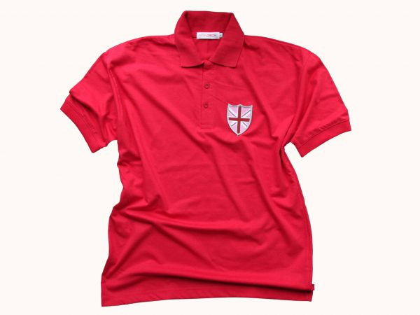 Red polo shirt with shield badge